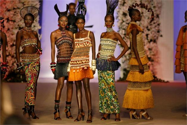 YSL African beaded dresses