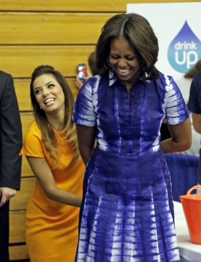 Michelle Obama with Eva Longoria in Tory Burch