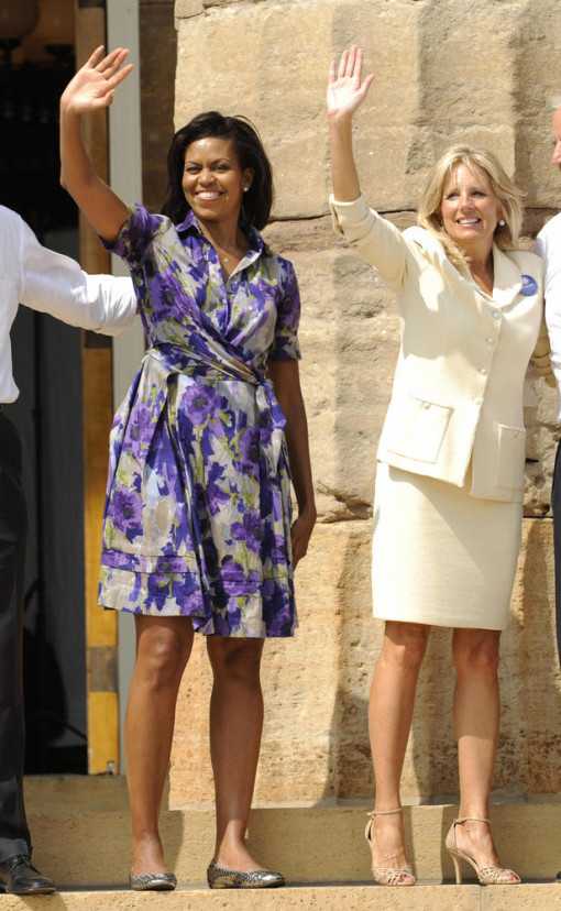 Michelle Obama with Jill Biden