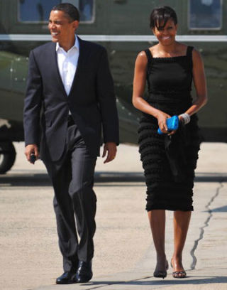 Michelle Obama in Azzedine Alaïa black dress