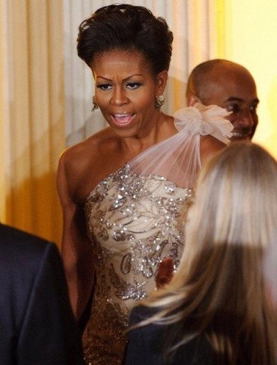 Lady O in beaded Naeem Khan