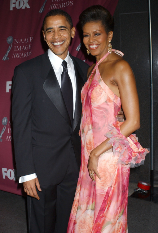 Michelle O in pink gown with Flotus