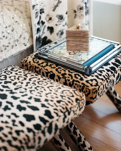 Michelle Adams leopard print benches