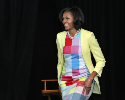 Michelle Obama in Preen colorblock dress