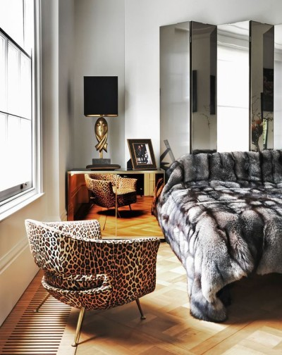 Leopard accents in bedroom