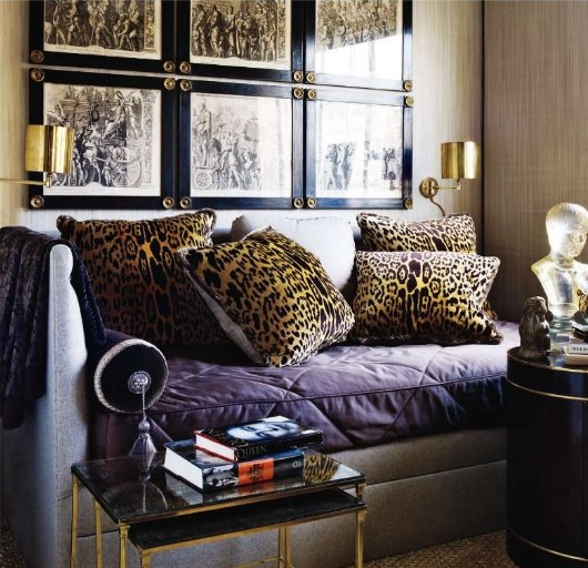 Leopard Pillows And Quilted Sofa
