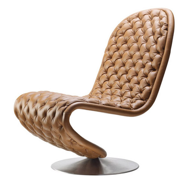 Verner Panton Leather Tufted Elegant Chair