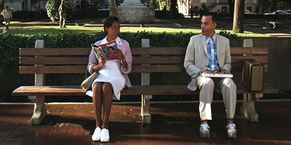 Forrest Gump on park bench in Chippewa Square