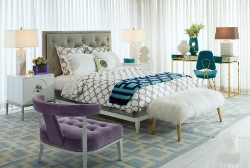 Jonathan Adler bedroom with fur bench