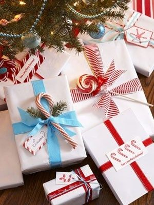 Presents wrapped in red & wht