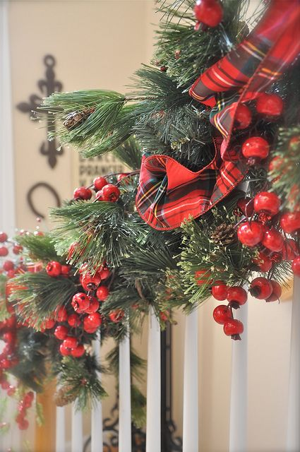 Christmas decorating ideas stairs and entry - berries