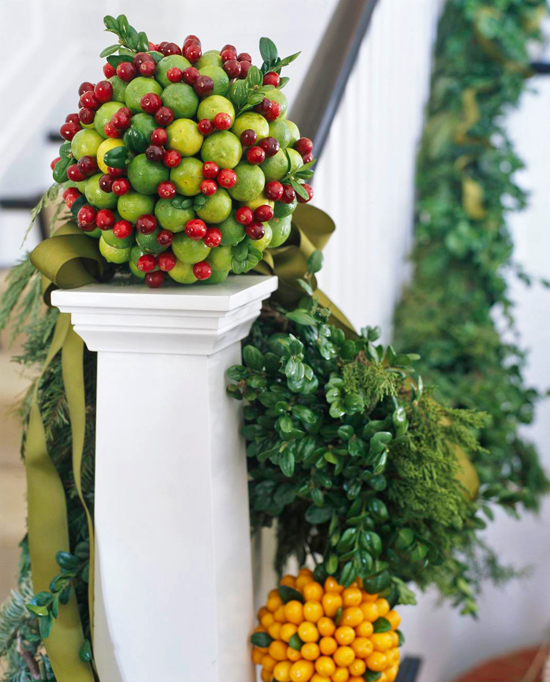 christmas decorations stairs & entry - fruit balls