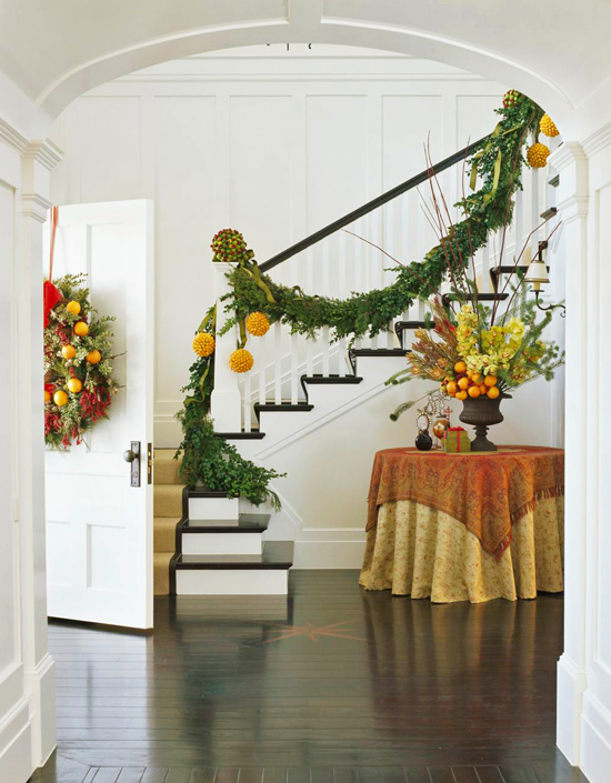 christmas decorations stairs & entry - fruit & flowers