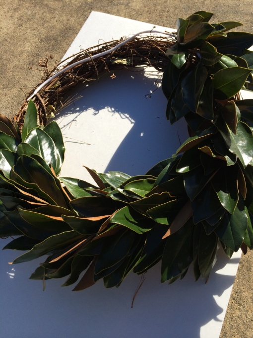Leaves on wreath form