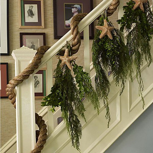 Christmas decorating ideas stairs and entry - Rope
