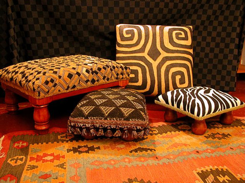 African kuba cloth ottomans