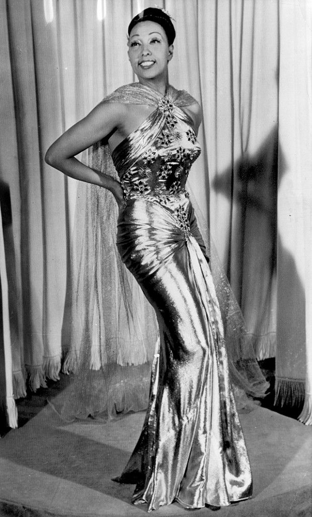 Josephine in gold lame gown