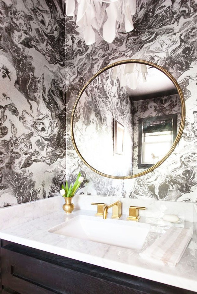 Pink black and white bathroom decor - Wallpapers For Bathroom