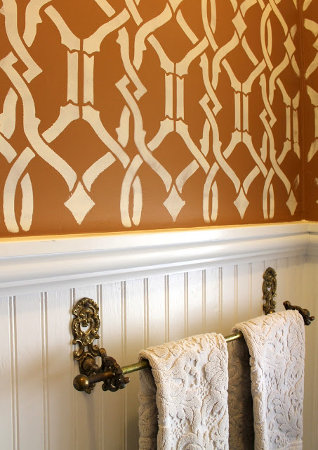 bathroom wallpaper - stencil
