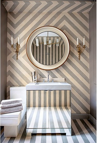 bathroom wallpapers - bold stripes