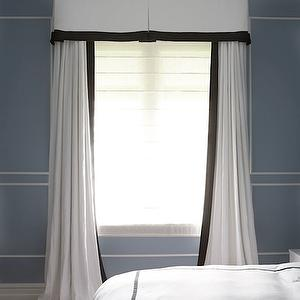 black ribbon trimmed curtains
