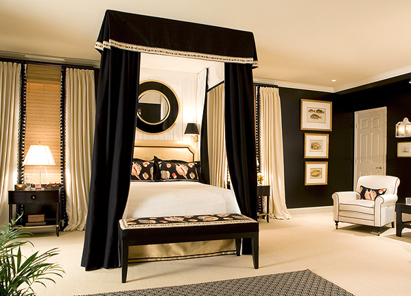 black-white-modern-chic-bedroom-with-canopy