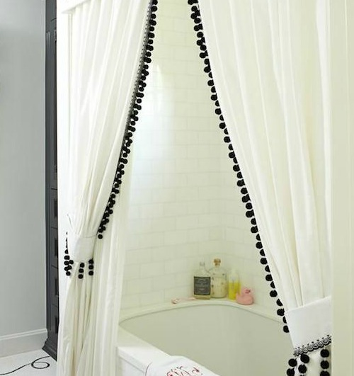 white curtain with black pompoms2