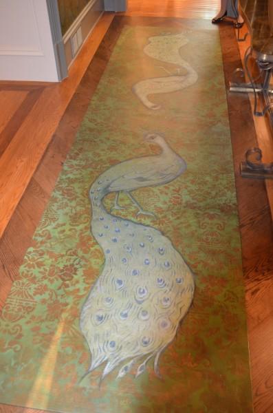 Custom floorcloth peacock