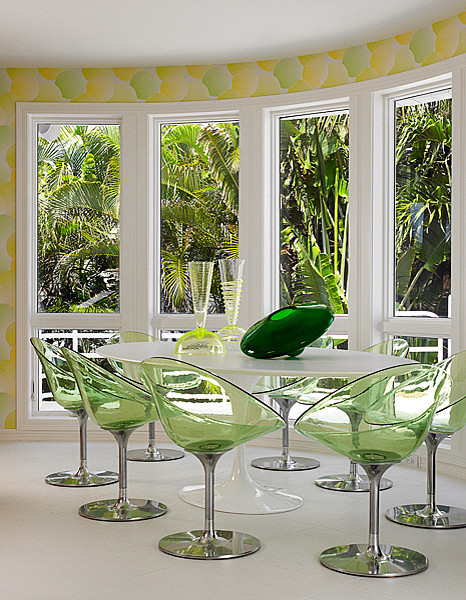 Modern DR - Lucite green chairs Fava-design-group