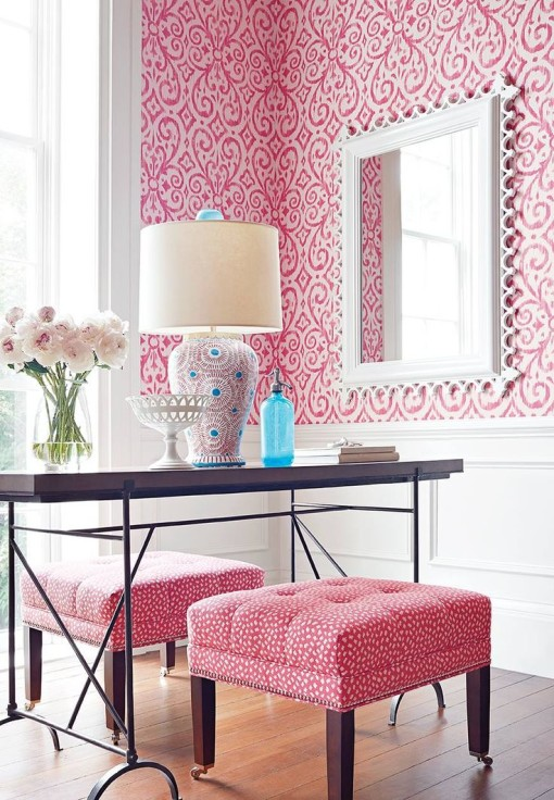 Thibaut wallpaper - Strawberry ice Spring 2015
