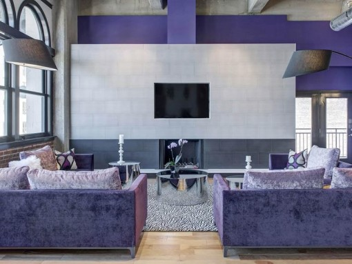 Chic purple media room - SHblog