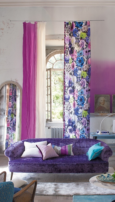 Room awash in purple by Designer's Guild