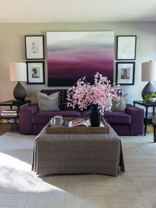 Purple living room HGTV designer Tiffany Brooks