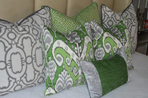green & gray pillows - Elle Gibson