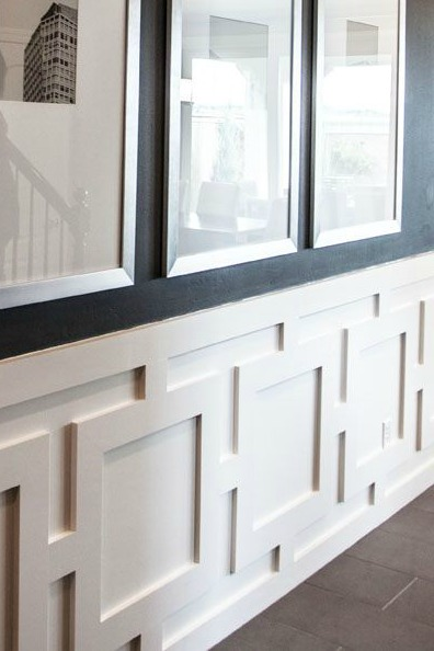 geometric molding trim on wall