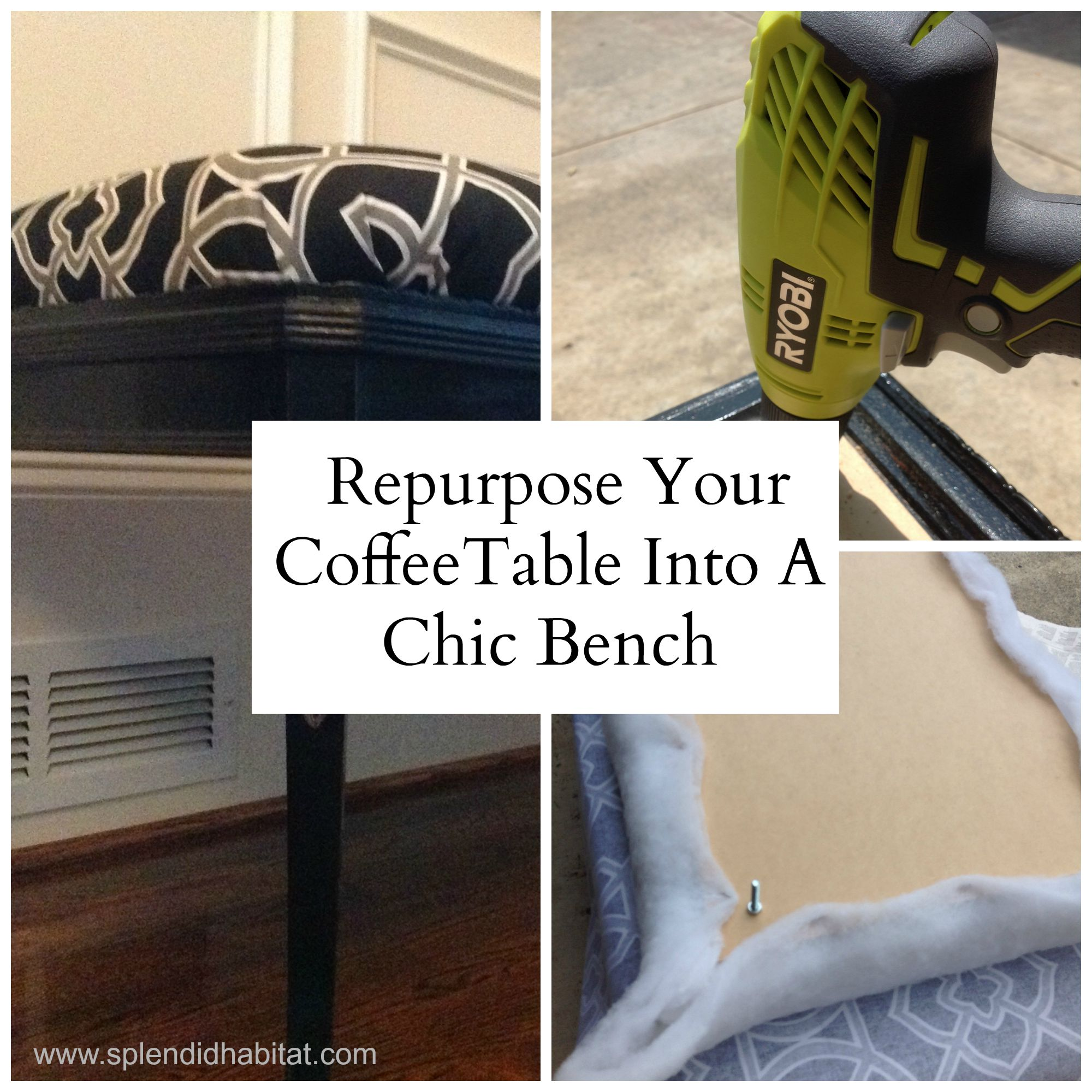 Repurpose a coffee table into a bench