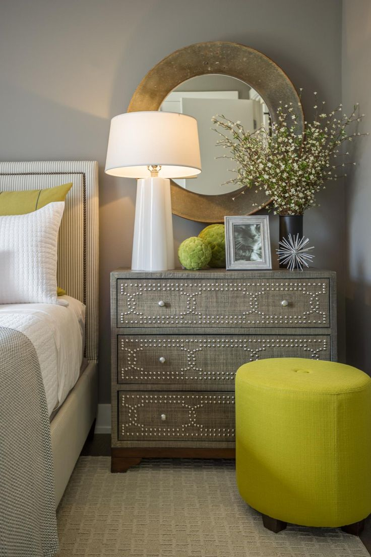 Chartreuse Ottoman In Bedroom