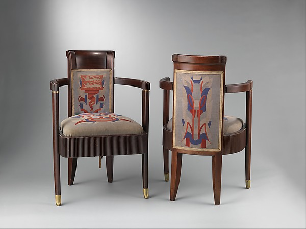 Pierre Patout Embellished Art Deco Armchairs 1934