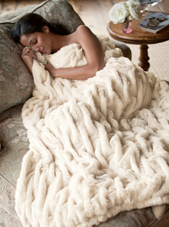 White textured faux fur throw - Warm & Fuzzy