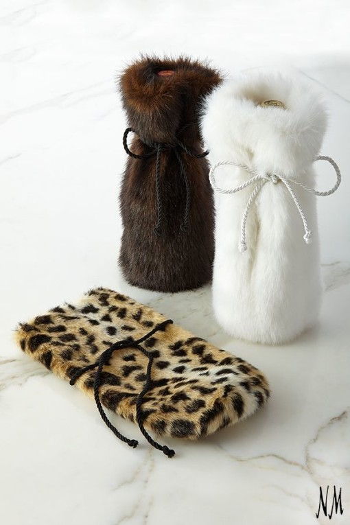 faux fur wine bags - warm & fuzzy
