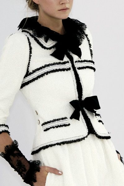 Coco Chanel knit suit in black & white