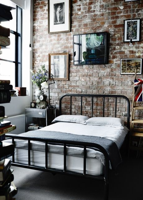 Industrial Exposed Brick Bedroom