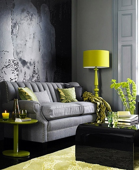 grey and chartreuse living room decorating with chartreuse 18628